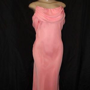 Milano formal gown w/spaghetti sz 12 peach(HH0536)